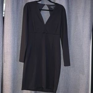 Vneck, long sleeve fitted black mini dress